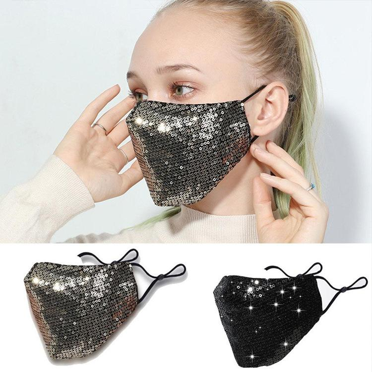 Máscara de Bling de la manera 3D lavable reutilizable PM2.5 Escudo cuidado de la cara Máscaras Sun del color oro codo lentejuelas brillantes cubierta de la cara de montaje anti-polvo Boca Mas