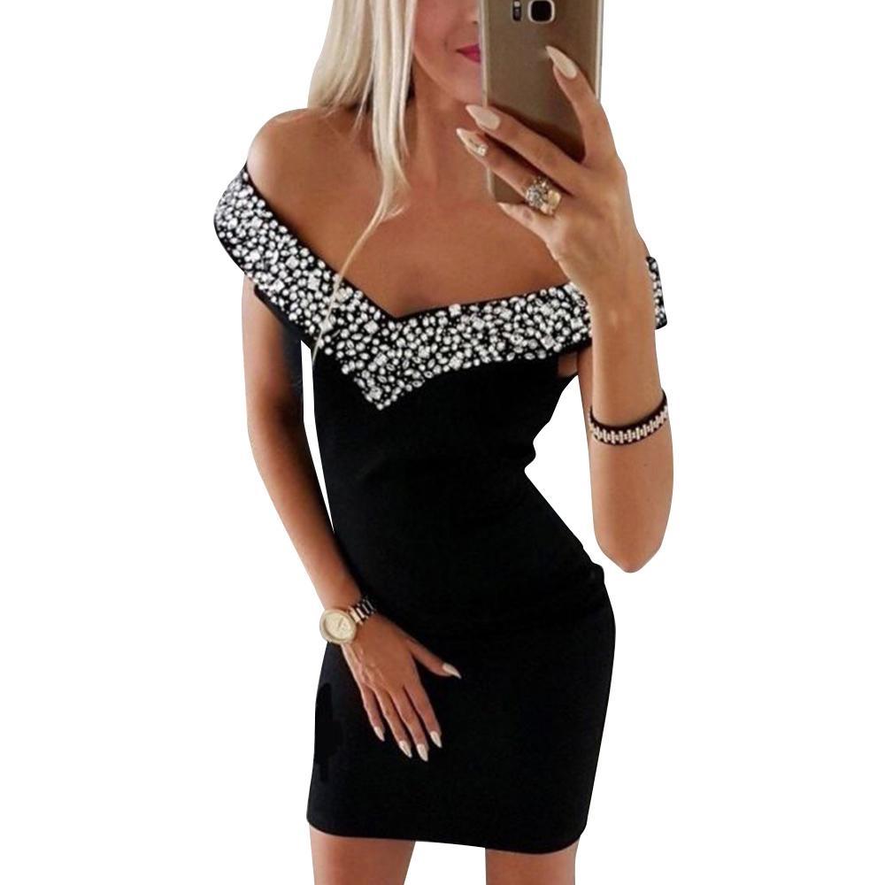 Kleid-Frauen arbeiten Sleeveless weg Schulter Slash Neck Kristall mit V-Ausschnitt Schwarz-Partei-Kleid Street Frauen Bodycon vestidos H30 Y200418