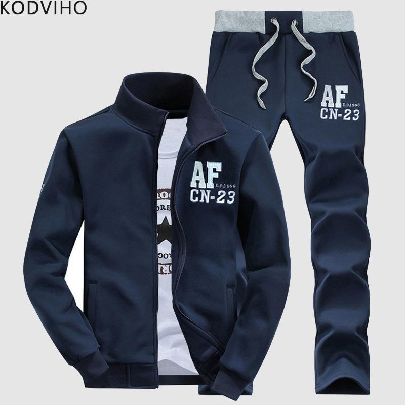Frühling und Herbst Anzug Men Casual Trainingsanzug Zweiteilige Sets Stehkragen Sweatshirt + Sweatpant Trainingsanzüge College-Tracksuits