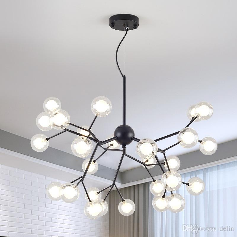 Постмодернистский Nordic гостиной стеклянный шар подвесной светильник свет креативный дизайнер ресторана спальни моды искусства филиал кулон 90-265V