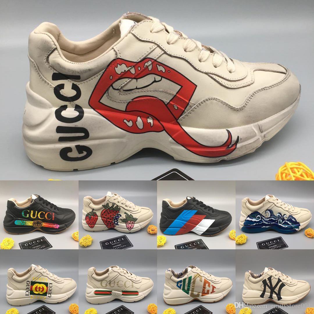 Novità in pelle Rhyton Sneaker con Wave Bocca Stampa fragola uomini di lusso di marca Casual Shoes Vintage Womens Classic Designer papà Sneaker