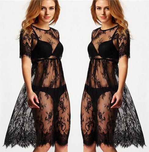 Womens Prospettiva sexy del merletto pigiami Backless della biancheria degli indumenti da notte Dress Beachwear Cover Up