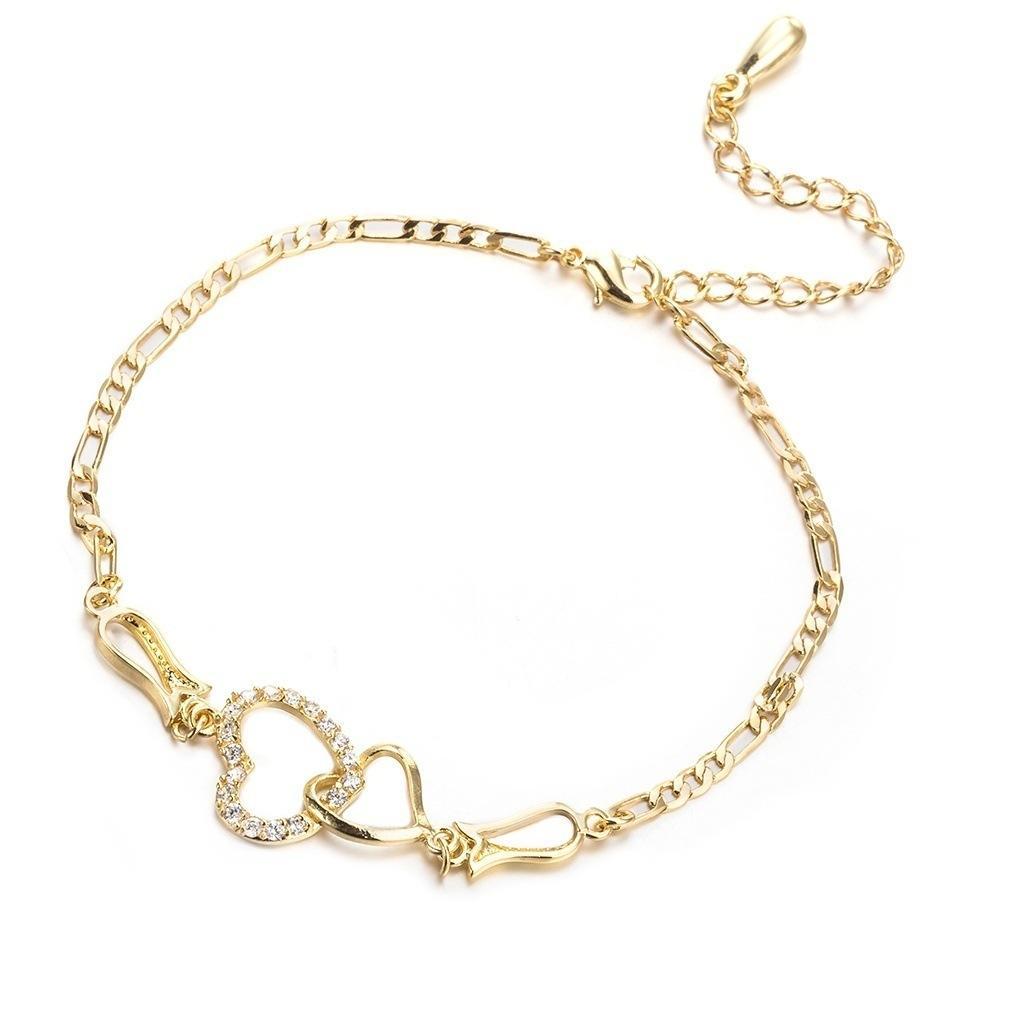 Kadınlar Yaz Plaj Ayaklar Takı Altın Gümüş Gül Altın Ayarlanabilir CZ Düğün Parti Için Çift Kalpler Halhal Zincir Bilezik