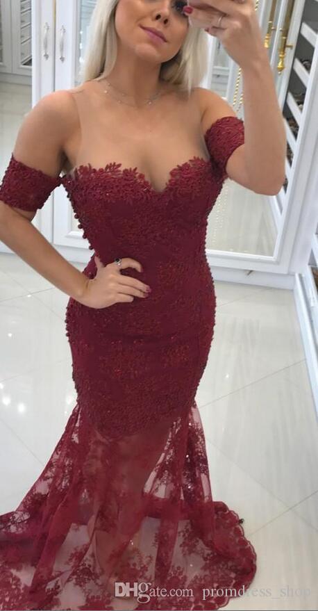2020 새로운 부르고뉴 아랍어 레이스 이브닝 드레스 쉬어 목 아플리케 환상 돌아 가기 인어 긴 정장 댄스 파티 파티 드레스 Vestidos 사용자 지정