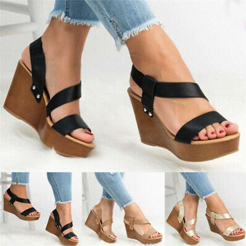 feminino Sandália Preto New Style Sandálias mulheres Wedge Heel simples sandálias leves PU Overshoes das mulheres Sapatos Verão 2020
