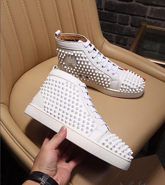 Llegada Krystal Spike Sock Donna Flat Sneakers Designer Mens Red Bottoms Shoes mens Rivet Spiky Sock Junior Spikes Flat with