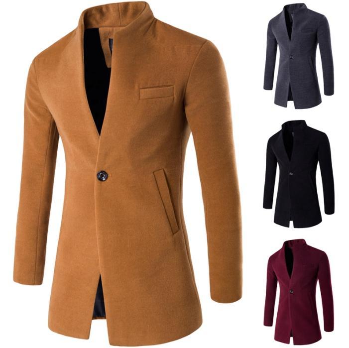 ZOGAA Горячая Dropshipping Зимняя шерсть куртка Мужчины высокого качества шерсти пальто вскользь тонкий воротник пальто Мужчины Длинные Хлопок Воротник шанца