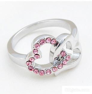 تعبئة ووصفت تصميم 18K الذهب الأبيض الزفاف القلب خاتم كريستال مجوهرات للنساء موضة خواتم الخطبة للمرأة 1623
