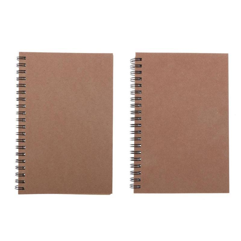 Papel Kraft cubierta Cuaderno con espiral punteada Diario Diario Sketchbook Bloc de notas