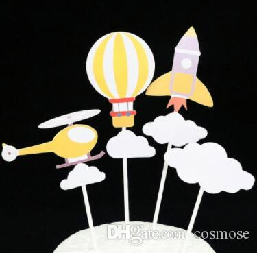 cartoon airballoon airplane birthday cake topper cupcake topper decoration baby shower kids birthday party favor supplies