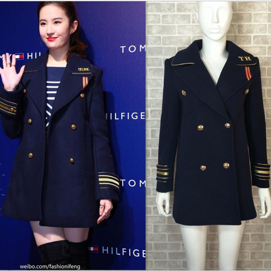 Femmes double manteau de style bleu marine en laine manteau insigne femmes manteaux basiques hiver Angleterre Veste d'hiver