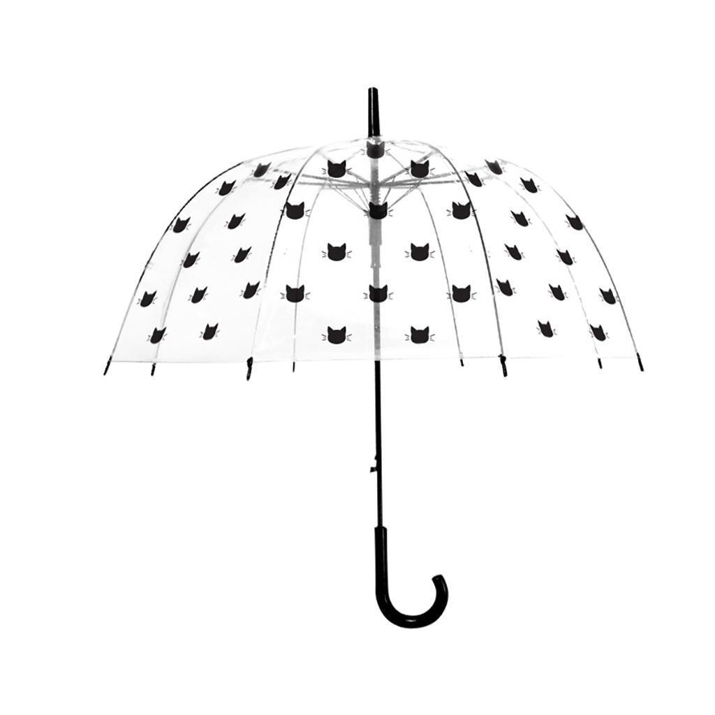 "Large 31/"" Black Clear See Through Dome Umbrella Ladies  Walking Rain Brolly"