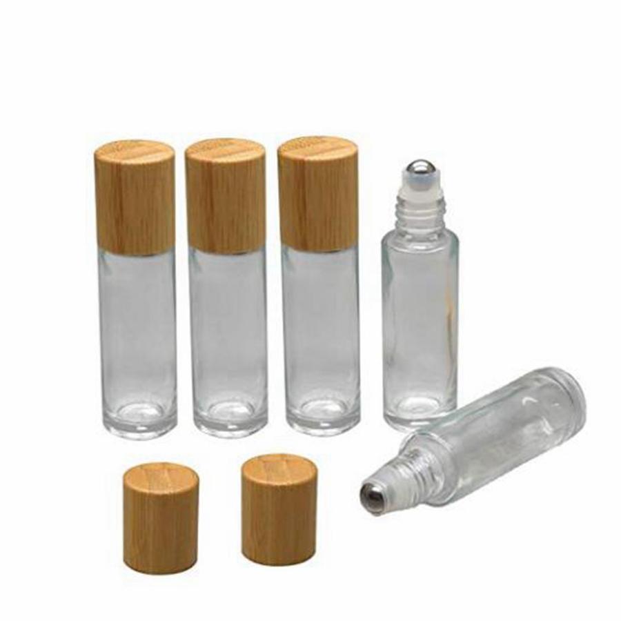 Tampa de bambu Cap Roll on Bola de vidro Roll on garrafa portátil frasco de petróleo essencial com rolo de aço inoxidável bola 10ml RRA2540