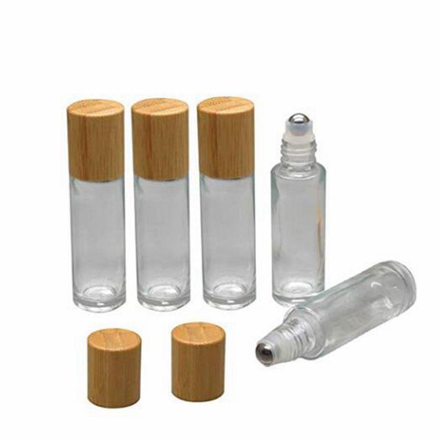 스테인레스 스틸 롤러 볼 10ml의의 RRA2540 병 휴대용 에센셜 오일 병에 볼 유리 롤에 대나무 뚜껑 캡 롤