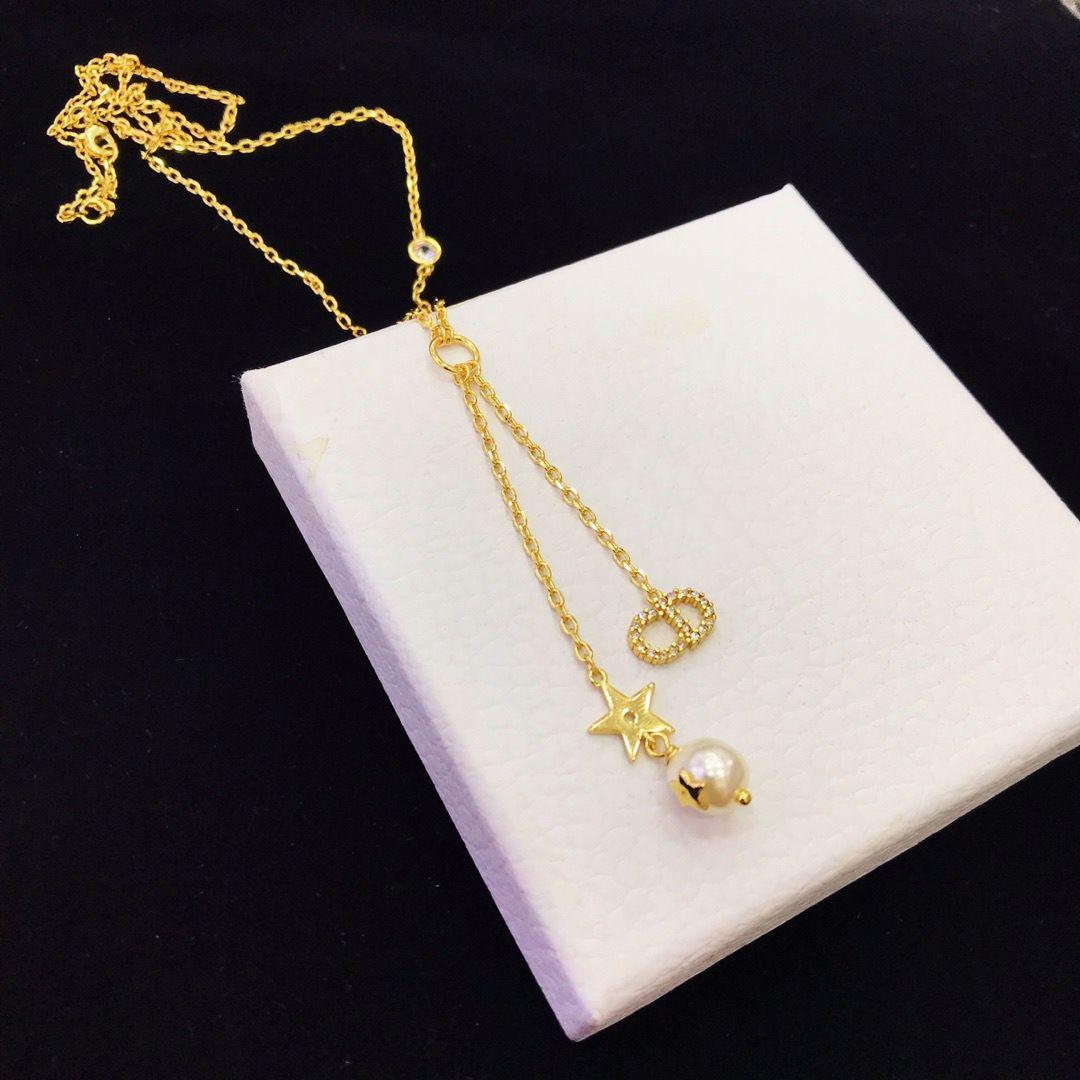 Wer D die neue CD Brief Sterne Perle Diamant-Kette Quaste Anhänger Halskette Schlüsselbeins weiblichen, Verkäufe der Fabrik, zu Hause freies Verschiffen