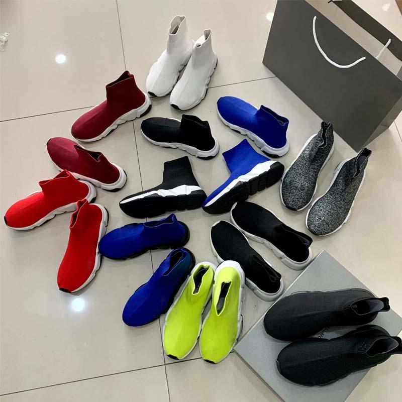 De alta qualidade nova plataforma de moda de luxo Paris Desenhador fêmea botas meias de malha tripla preto branco desportivos de treino de velocidade treinador dos homens vermelho