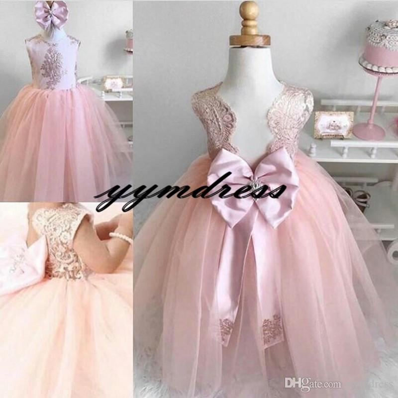 New Pink Flower Girls Dresses Back Big Bow Backless Lace Applique Girls Birthday Praty DressTulle Floor Length Girls Pageant Dress