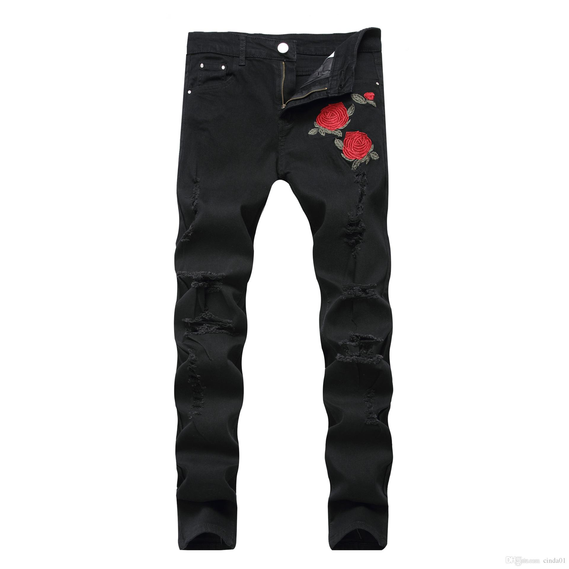스키니 청바지 남성 로즈 자수 파란색과 검은 색 구멍 탄성 허리 슬림 플러스 사이즈 긴 패턴 바지