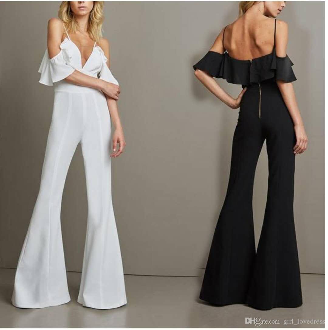Vestidos de noche elegantes elegantes del espagueti largo del mono de la gasa Vestidos de noche blancos Traje de soiré Longitud del piso Vestidos de baile con volantes