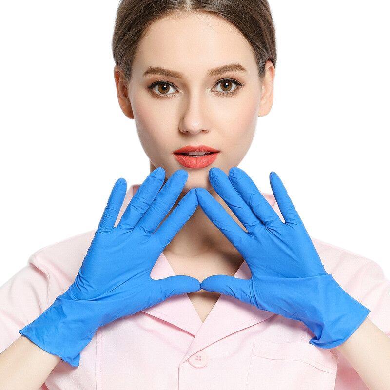 100 Pairs 24 * 12.5.5SPOSPOSABLE Gummihandschuhe Blaue Handschuhe Nitril Latex Thin Anti-Skid Latex Haushaltsreinigung