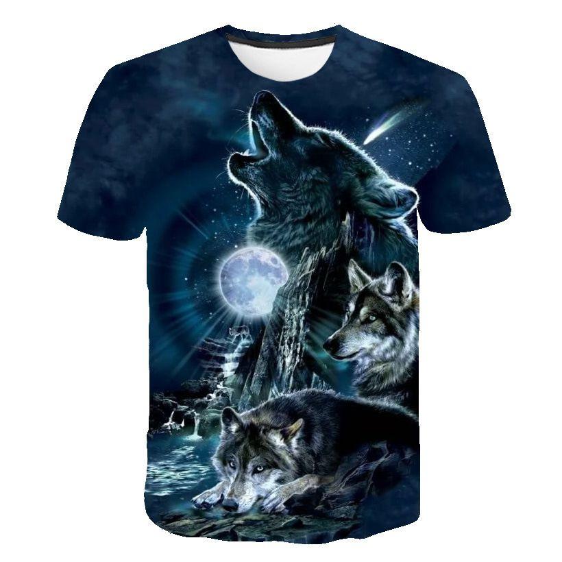 2020 Wolf цифровые печататься футболка 3d T-рубашки мужской круглого воротника короткого рукав персонализированной ТЕННИСКА Бесплатной доставки на высококачественном дизайнера