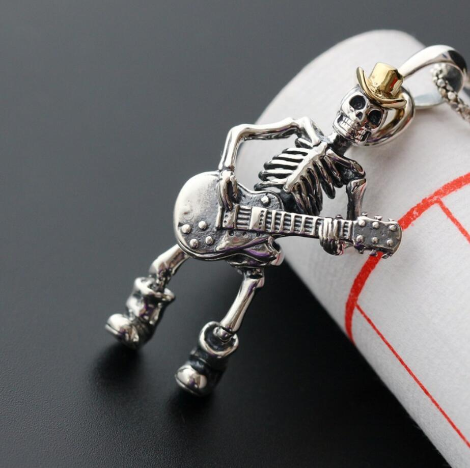 925 Sterling Silver Fashion Jewelry Punk Skull Skeleton Playing Guitar Pendant Men A2008