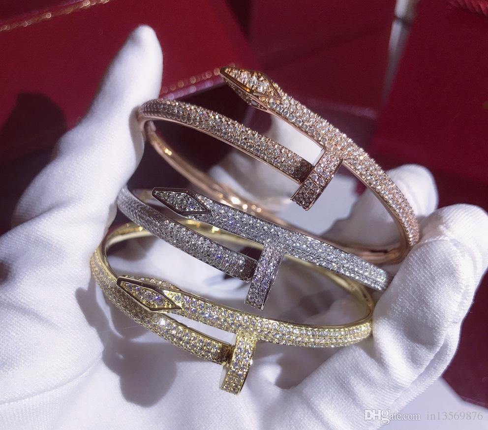 Las mujeres de las mujeres femeninas de lujo punk DJ exageraron los diamantes llenos Gypsophila pulsera brazaletes brazaletes brazaletes con caja envío gratis