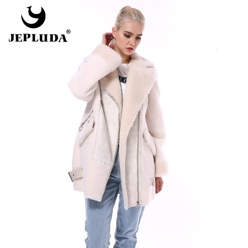 JEPLUDA Fashion Moto & Biker Natural Wool Blends Jacket Diagonal Zipper Soft Warm Real Fur Coat Women Winter Real Sheep Fur Coat Y191205