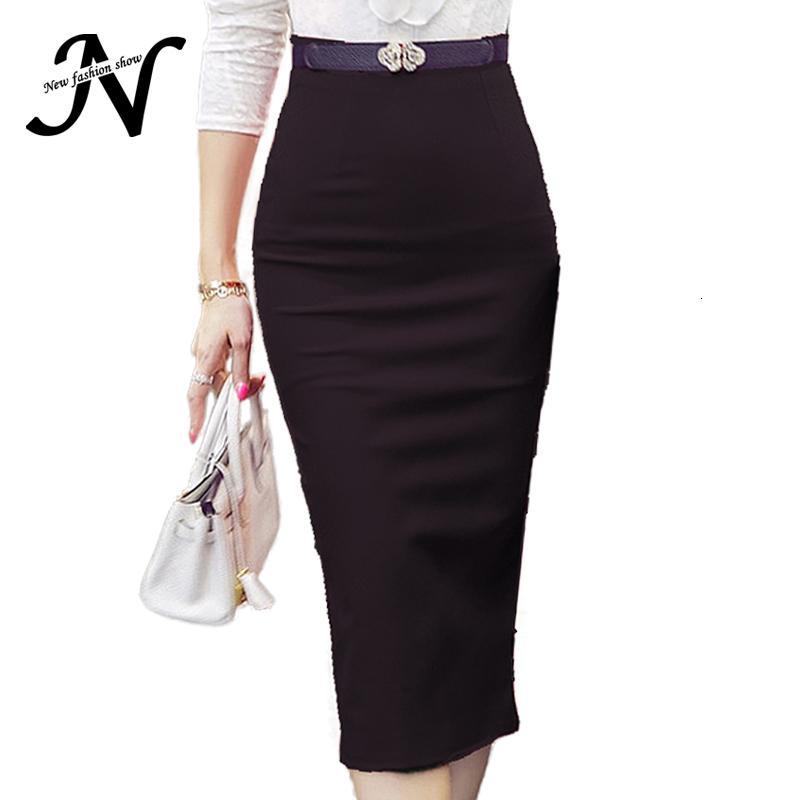 De cintura alta falda del lápiz apretado más el tamaño ajustado de manera de las mujeres falda de Midi Rojo Negro hendidura Faldas mujeres de la manera Jupe Femme S - 5XL V191108