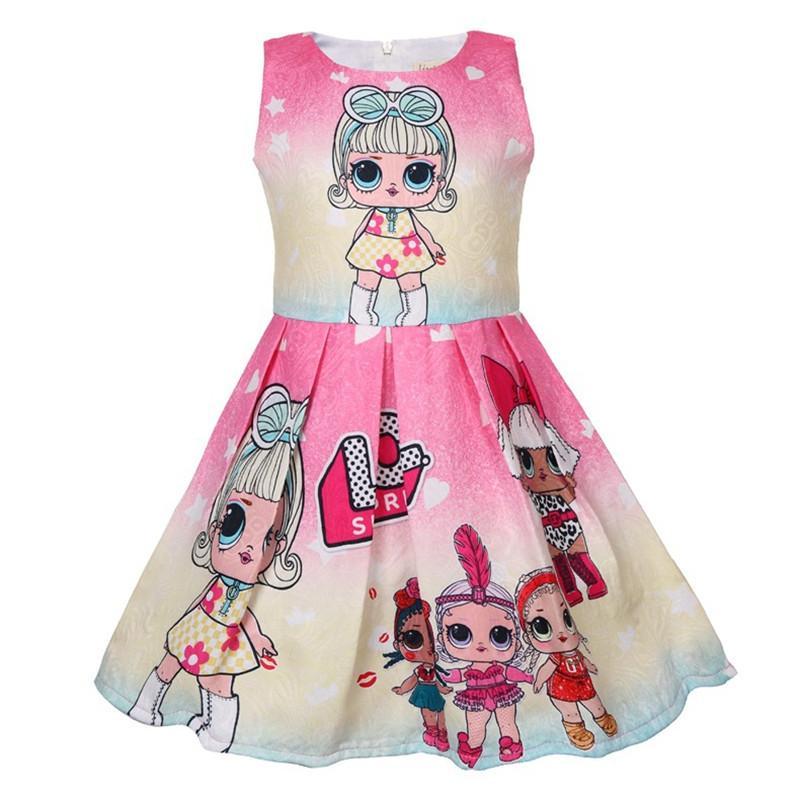 Compre Lol Meninas Surpresa Vestidos Bebê Menina Designer De Roupas Crianças Boutique Vestido De Princesa Verão Bonito Impressão Bola Vestido De