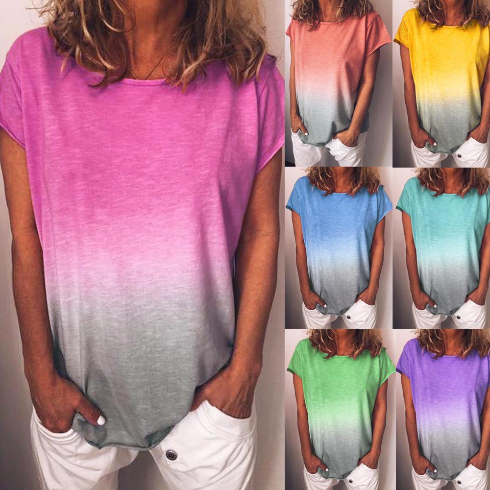 Été T Shirt Femmes Casual T-Shirts Tops Arc-En-Gradient À Manches Courtes T-Shirts D'Été T Shirt Pour Femmes Dames Coton T Chemises