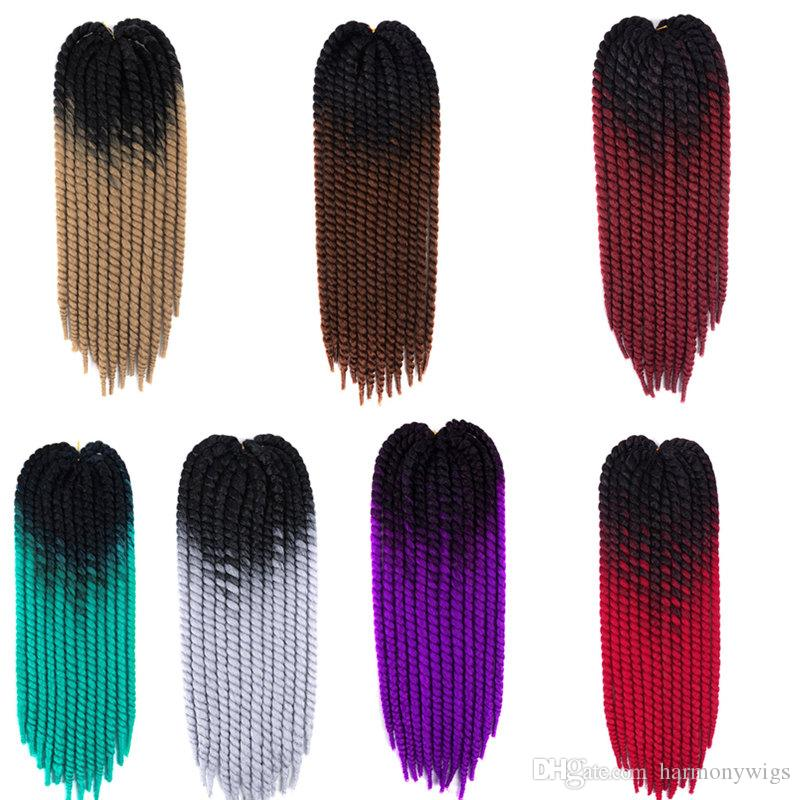 Ombre Synthetic Hanava Mambo Twist Braiding Hair 22Inch 120G Crochet Braids Hair Extensions In Stock Customized