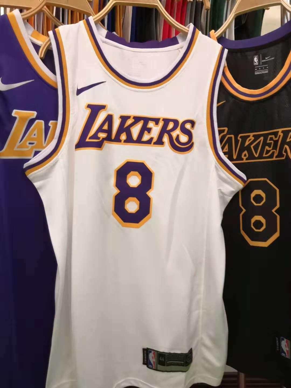 2020 New Mens Los Angeles Lakers 8# Kobe Bryant Retro White ...