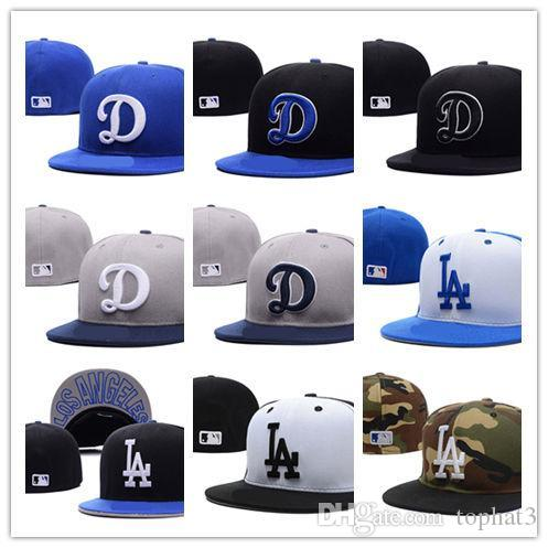New Fashion LA Royal Blue fitted hat flat Brim embroiered logo fans baseball Hats size LA on field full closed