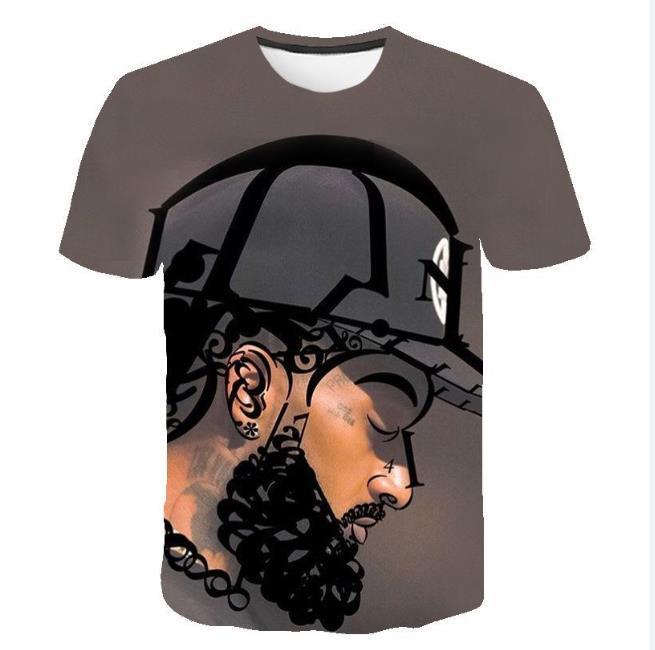 Мужские дизайнерские футболки 3D печатных Нипси Т Сирц лето бедная дизайнер хип-хоп РИП тройники с коротким рукавом топы