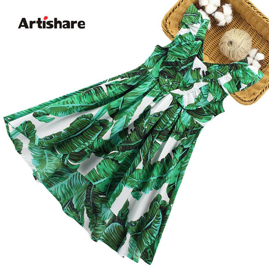 Artishare Kızlar Elbiseler Yaz Kolsuz Parti Prenses Elbiseler Genç Yapraklar Baskı Büyük Çocuk Kız Elbise 6 8 10 12 14 Yıl Y190516