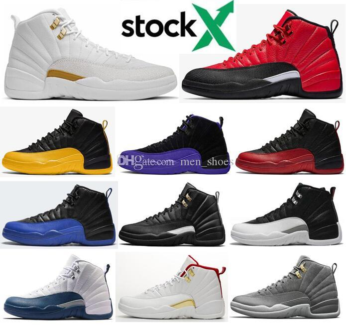 New 12 Reverse Flu Game University Gold Dark Concord Dark Grey OVO White Men Basketball Shoes 12s Playoff French Blue Sneakers With Box