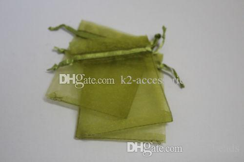 Hot Sales ! 100pcs OLIVE GREEN Drawstring Organza Gift packing Bags 7x9cm 9x12cm 10x15cm Wedding Party Christmas Favor Gift Bags