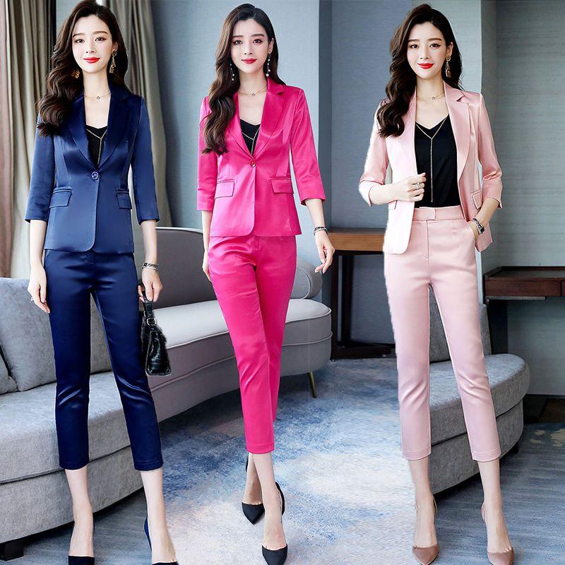 2020 Nueva Primavera Otoño de la señora traje de la oficina del trabajo de las bragas 2 piezas Conjunto elegantes pantalones de las mujeres de la chaqueta de 2 piezas Traje Femenino Trajes Z19
