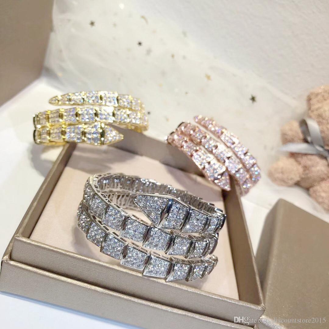 Lüks Moda Markası Takı Lady Pirinç Tam Elmas Çift Yılan Serpenti 18K Altın Düğün Nişan Açık Bilezikler 3 Renk Circles