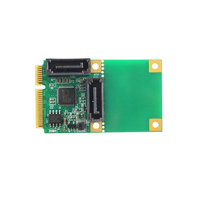 Freeshipping Internal PCI Express 6Gbps Mini PCIe to 2 Ports SATA 3.0 Adapter Controller Expansion Raid Card