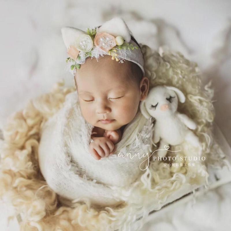 Dvotinst Bebek Yenidoğan Fotoğraf Dikmeler Kafa + Domuz Doll 2adet Seti Yün Fotografia Aksesuarlar Stüdyo vur Fotoğraf Duş Hediye