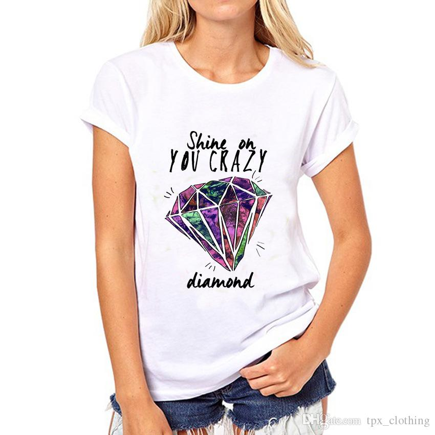 Diamond t shirt Shine on you crazy words short sleeve gown White print tees Pure color clothing Quality modal Tshirt
