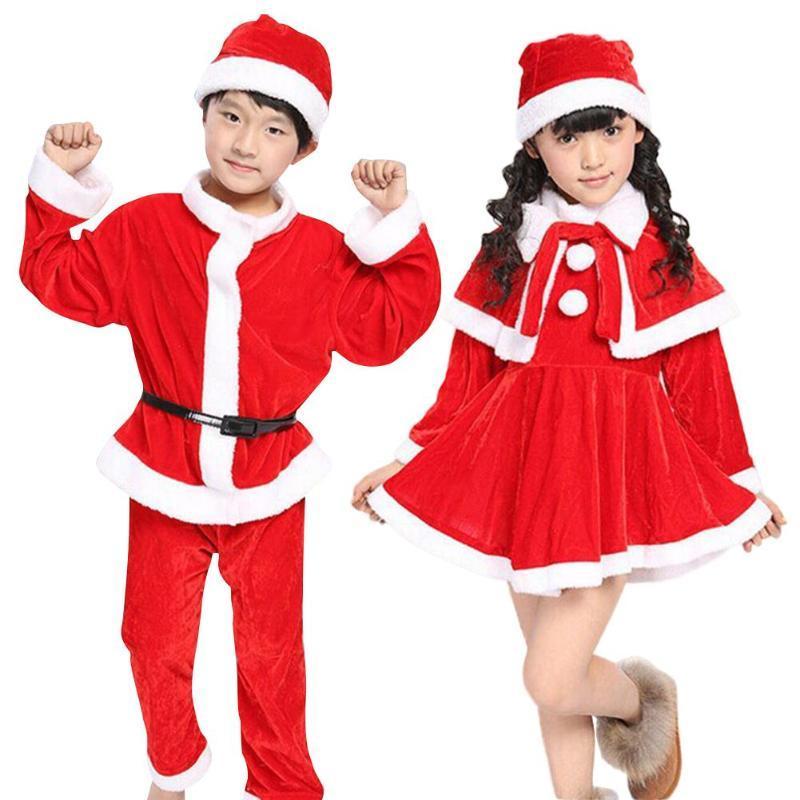 Niña Niño Niños ropa de manga larga de Navidad de Santa Claus Tops capa + pantalones rojos Se ajusta largo del traje de Cosplay del niño