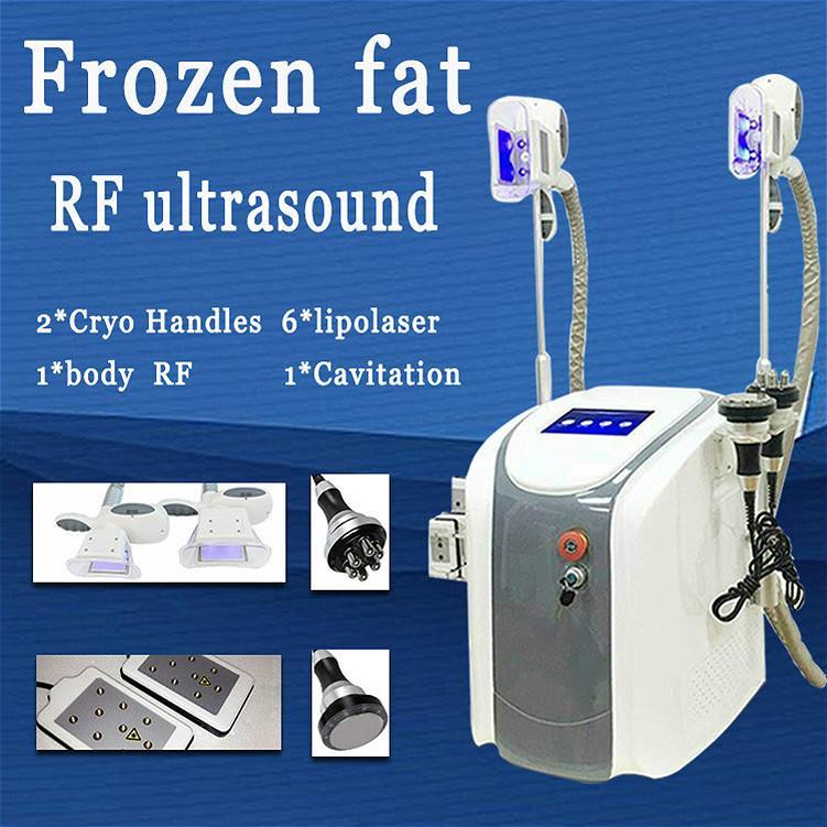 5 in 1 Ultraschall Kavitation RF Haut tighteninng Fett Gefriermaschine Fettabsaugung Maschine zwei cryolipolysis Griffe können zusammen DHL arbeiten