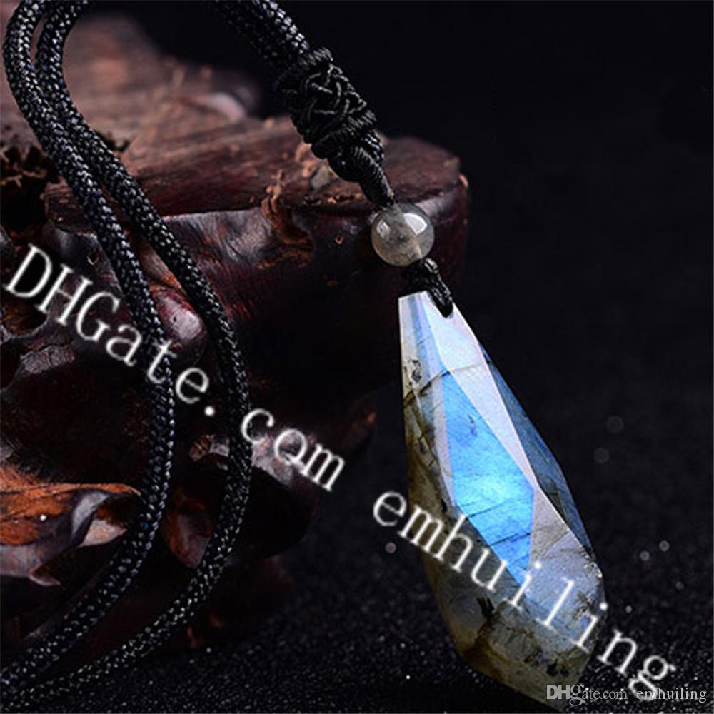 5 Unids Tallado A Mano Pulido Piedra Preciosa Semi Preciosa Piedra Lunar Gris Natural Labradorita Brillante Cristal de Cuarzo Facetado Lágrima Colgante Pendulum