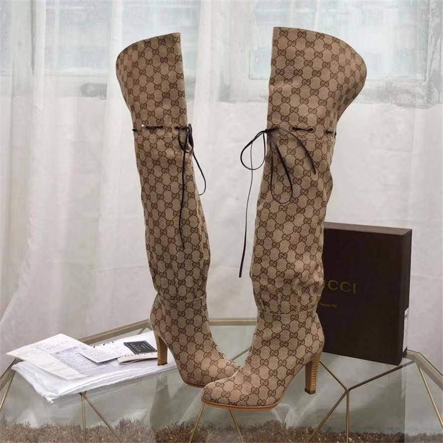 Yüksek Kaliteli Bran Kadın çizme Harf Tuval Over-the-diz Boot Deger Kız Deri Yüksek topuk Kauçuk Taban Çizme
