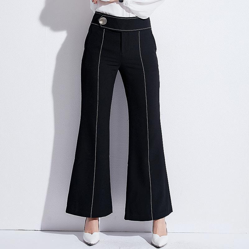 المرأة خمر التباين الصلبة ملزم مضيئة الساق السراويل أنيقة مكتب سيدة عمال أزياء المرأة متوهج بنطلون