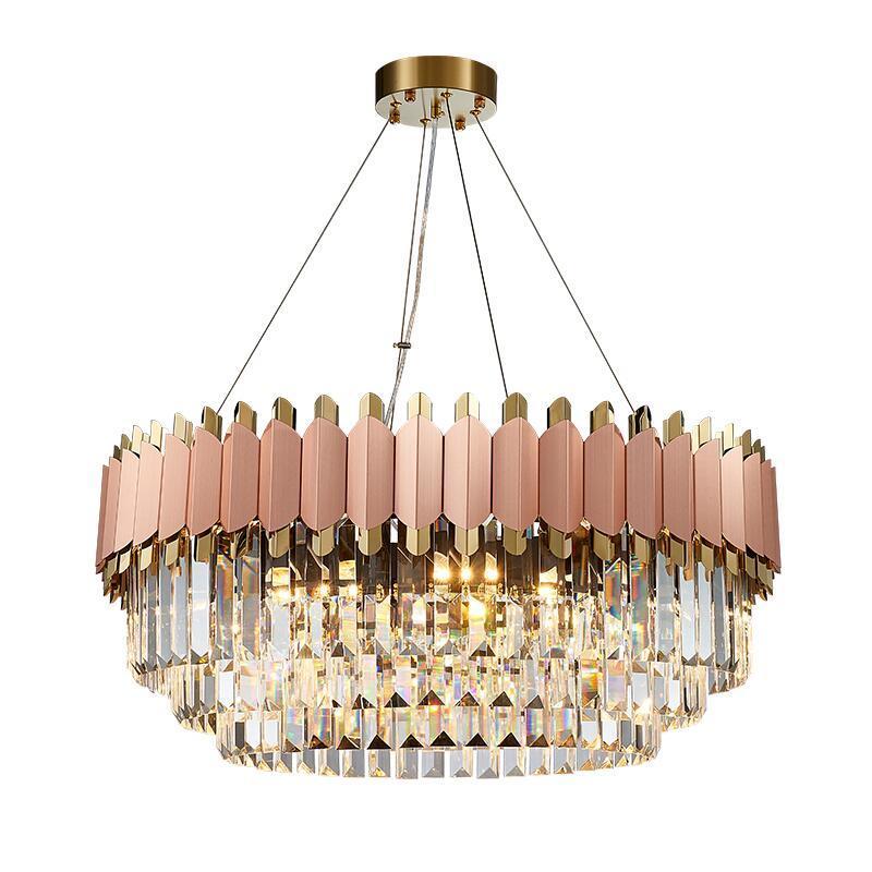 Современная роскошь люстра из розового золота клуб дуплекса вилла дизайнерской модель Гостинает круглый кристалл LED свадьба украшения лампы
