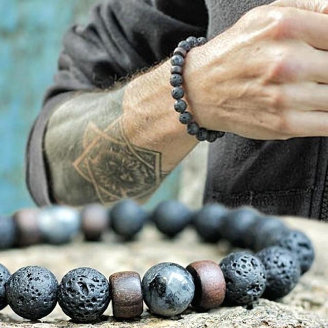 8mm Naturel Pierre De Lave En Bois Mix Hommes Bracelet De Mode À La Main Ronde À La Mode Charme Bracelet Hommes Bijoux Pulsera Hombre